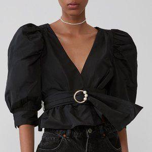 Zara Flowy Belted Top with Pearl Appliqué